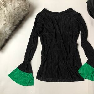 ZARA | Black Pleated Blouse with Green Sleeves